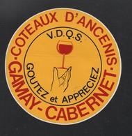VIN COTEAUX D ANCENIS GAMAY CABERNET - AUTOCOLLANT REF: 121 - Stickers
