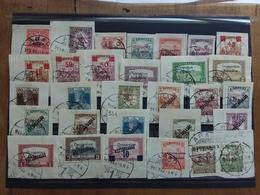 UNGHERIA - ARAD - Occupazione Francese - Lotto 30 Francobolli Differenti Timbrati Su Frammento + Spedizione Prioritaria - Usati