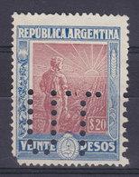 Argentina Perfin Perforé Lochung 'UT' 1912 Mi. 181Y, 20p. Landarbeiter Vor Aufgehender Sonne (Wz. Liegend) MH* (2 Scans) - Argentinien