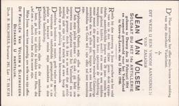 Gesneuveld Soldaat 12 Mei 1940, Jean Van Volsem, Gors Op Leeuw, Limburg, Doodsprentje, Bidprentje - Religion & Esotericism