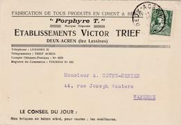"""Deux-Acren ,carte Publicité ,Victor Trief ,fabrication Produits Ciment & Béton ,""""Porphyre T. """",( Carrière ) - Lessines"""