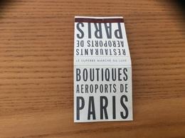 Pochette D'allumettes * SEITA «BOUTIQUES AÉROPORTS DE PARIS - ADP» - Boites D'allumettes