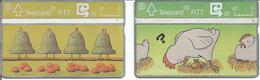 2 Télécartes De BELGIQUE - Fêtes De PAQUES ( Poules Oeufs Et Cloches ) - Sans Puce
