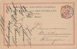 ZZ916 - Entier Allemagne REPONSE Utilisé En Belgique - ANVERS 1884 Vers MUHLHAUSEN - Brieven En Documenten