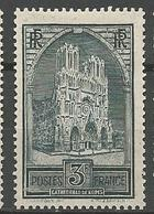 CATHEDRALE DE REIMS N° 259b Type 3 GOM D'ORIGINE NEUF* Trace De CHARNIERE  / MH - Unused Stamps