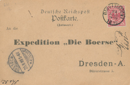 ZZ918 -  Allemagne Carte Privée REPONSE + TP Reich -  Utilisée En Belgique Gand Station 1899 Vers DRESDEN - Briefe U. Dokumente