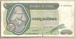 Zaire - Banconota Circolata Da 5 Zaires P-21b - 1977 - Zaire