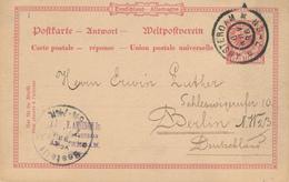 ZZ919 -  Allemagne Entier REPONSE  Utilisé En Hollande Netherlands - AMSTERDAM 1896 Vers BERLIN - Brieven En Documenten