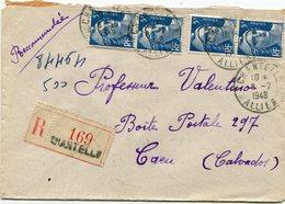 ALLIER De CHANTELLE    Env. Recom. De 1948 Avec Dateur A 6 - Marcophilie (Lettres)