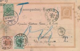 ZZ924 -  Autriche Entier + TP Allemagne LEIPZIG 1897 Vers BRUXELLES - Combinaison Non Acceptée Et Taxée 15 C. - Postwaardestukken