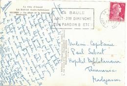 LOIRE ATLANTIQUE - LA BAULE - TYPE MULLER - 15f SEUL SUR CARTE POSTALE POUR TANANARIVE - MADAGASCAR. - Postmark Collection (Covers)