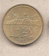 """San Marino - Moneta Circolata Da 200 Lire """" - 1989 - San Marino"""