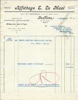 LE Mans - Facture  Affiches Métalliques E Moal 1939 - France