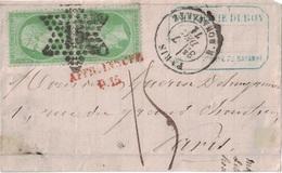 PARIS - R.BONAPARTE - LE 7 DECEMBRE 1871 - EMPIRE - N°20 EN PAIRE SUR DEVANT DE LETTRE TAXEE A 15 MANUSCRIT + AFFR.INSUF - Marcofilia (sobres)