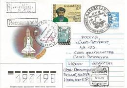 Kazachstan 1995 Baikonur Handstamp Soyuz-U Launch Postal Stationary Registered Cover - Russie & URSS