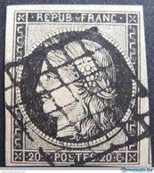 Ceres N°3 ☛☛☛ Timbre Signé - Très Belle Oblitération Grille Noire - Cote : 600,00 € - 1849-1850 Ceres