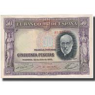 Billet, Espagne, 50 Pesetas, 1935, 1935-07-22, KM:88, TTB+ - [ 2] 1931-1936 : Republic