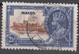 Malta 1935 Michel 170 O Cote (2006) 6.50 Euro Château De Windsor Et Roi George V Cachet Rond - Malte