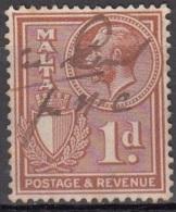 Malta 1930 Michel 154 O Cote (2006) 0.10 Euro Roi George V Et Armoirie - Malte