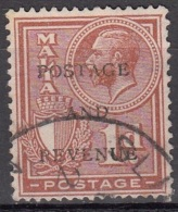 Malta 1928 Michel 150 O Cote (2006) 0.10 Euro Roi George V Et Armoirie Cachet Rond - Malte