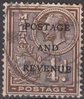 Malta 1928 Michel 133 O Cote (2006) 0.10 Euro Roi George V Et Armoirie Cachet Rond - Malte