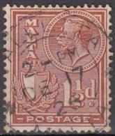 Malta 1926 Michel 118 O Cote (2006) 0.20 Euro Roi George V Et Armoirie Cachet Rond - Malte