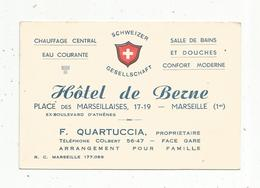 Carte De Visite , HOTEL DE BERNE ,place Des Marseillaises ,MARSEILLE - Cartes De Visite