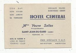 Carte De Visite , HOTEL CENTRAL , SAINT JEAN DU GARD , 30 , GARD , Verso : Facture - Cartes De Visite