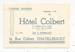 Carte De Visite , HÔTEL COLBERT ,16 Rue Colbert , 86 , CHATELLERAULT - Cartes De Visite