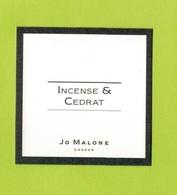 Cartes Parfumées  CARTE  JO MALONE LONDON  INCENSE & CÉDRAT - Modern (from 1961)