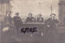 CARTE PHOTO,42,LOIRE,FIRMINY,1919,VERRE DE L'AMITIE,CHEZ MONSIEUR BERTHET,AMIS,RARE - Firminy
