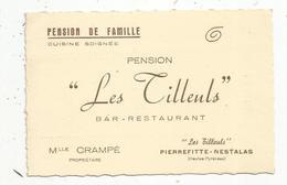 Carte De Visite , RESTAURANT , BAR , PENSION LES TILLEULS , 65 , PIERREFITTE-NESTALAS - Cartes De Visite