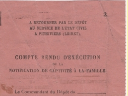 1939-46 Camp D'internement De Pithiviers:Compte Rendu D'exécution De La Notification De Captivité à La Famille. (2 Scan - Documents Historiques