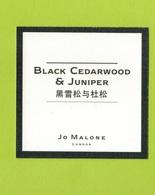 Cartes Parfumées  CARTE  JO MALONE LONDON  ASIATIQUE BLACK CEDARWOOD & JUNIPER - Modern (from 1961)