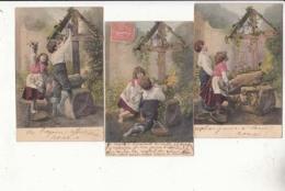 3 Cartes Au Pied De La Croix - Cartes Avant 1904 -  Achat Immédiater Avril - Religión & Creencias