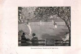 Tennisplatz In Cannes (nach Einem Gemälde Von Sir John Lavery) / Druck, Entnommen Aus Zeitschrift / 1930 - Books, Magazines, Comics