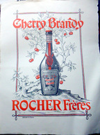 38 ISERE CHERRY BRANDY ROCHER FRERES GRANDE PUBLICITE ANCIENNE GRAVEE PAR STERN  TRES BEL ETAT  64 X 50 CM - Alcools