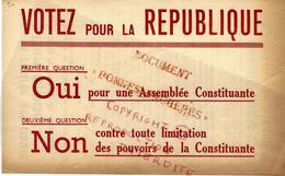 1945 REFERENDUM  CONSTITUTION  4° REPUBLIQUE APRES GUERRE  PARTI COMMUNISTE FRANCAIS - Documents Historiques