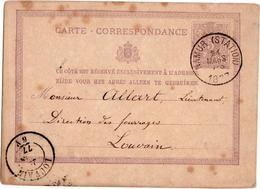 Stamped Stationery Sent From Namur To Louvain 1877 - Postwaardestukken