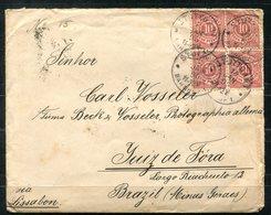 6968 - WÜRTTEMBERG - 2 Waag.Paare Nr.46 Auf Brief Nach Juiz De Fora,Brasilien,Bundesstaat Minas Gerais (Marken M.Mängeln - Wuerttemberg