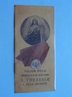 FOLIUM ROSAE : S. THERESIAE A JESU INFANTE ( RELIKWIE - RELIQUIARIO - RELIC - RELIQUARY - RELIQUAIRE ) LOFZANG ! - Religion & Esotericism