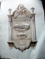 MODE CHAPELLERIE MOSSAND VALLON ET ARGOD GRANDE PUBLICITE ANCIENNE GRAVEE PAR STERN  TRES BEL ETAT  64 X 50 CM - Alcohols
