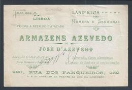 Raro Recibo Dos Armazens Azevedos,Lisboa 1920.Alfaiataria/tecidos.Capas Alentejanas.Receipt Of Tailoring.2sc - Portugal