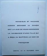 Faire-part Naissance Françoise Bégasse De Dhaem. - Oreye 1956. - Birth & Baptism