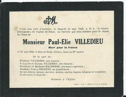 FAIRE PART DECES - Paul Elie VILLEDIEU Mort Pour La France 1940 - Décès