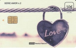 ISN-264 TARJETA DE ESPAÑA DE ISERN DE LA SERIE AMOR Nº2 CANDADO - LOVE - Tarjetas Telefónicas