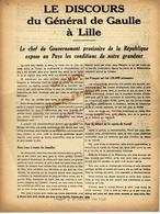 WW2 LIBERATION DISCOURS GENERAL DE GAULLE LILLE 1944 GOUVERNEMENT PROVISOIRE B.E.V.SCANS+HISTORIQUE - Documents Historiques