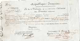 Révol. DOMAINES NATIONAUX - 15 Germinal An 7 - TROYES - LA VACHERIE (10) - Jean CAMUSAT Emigré - Documents Historiques