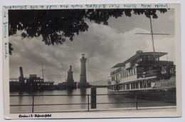 """Lindau (Bodensee), Hafeneinfahrt Mit Schiff """"Kempten"""" 1948y. Cyrkulation Gelaufen Wurttemberg E518 - Lindau A. Bodensee"""