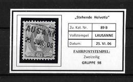 1882 - 1906 STEHENDE HELVETIA Gezähnt → Fahrpost LAUSANNE, Gute Zähnung  ►SBK-89B◄ - 1882-1906 Armoiries, Helvetia Debout & UPU